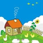 Rural small house. — Stock Vector