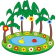 Children's inflatable swimming pool — Stock Vector