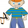 Mischievous boy with slingshot. — Stock Vector