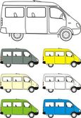 Car mini-bus. Different versions of color machines, isolated images, contour — Stock Vector
