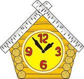 Na białym tle wektor ilustracja - zegarek - drewniane chaty - stylu cartoon — Wektor stockowy