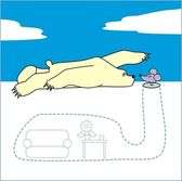 Vector illustration - Polar bear and a mouse - cartoon style — Stock vektor