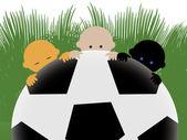 Bebés multirraciales en el fútbol — Foto de Stock
