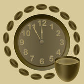 Clock and caffee — Stock Photo