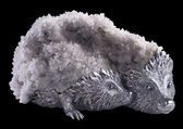 Hedgehoges. Bronze, platinum, tiff brush, haematite 20x25x13 cm. — Stock Photo