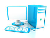 Computer over white background — Stock Photo