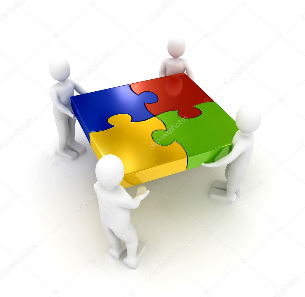 Puzzle over white background. 3d rendered image — Stock Photo #3034868