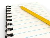 блокнот с карандашом над белой — Стоковое фото