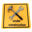 """Under construction"" sign over white — Stock Photo"