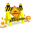 """Under construction"" sign over white — Foto de Stock"