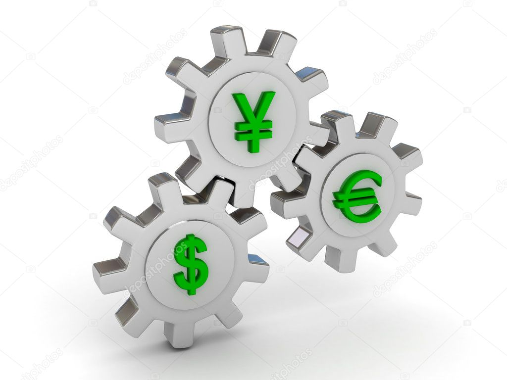 Gears with dollar yen and euro signs. 3d render — Stock Photo #3473397