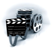 Film Slate with Movie Film Reel — Stock Photo