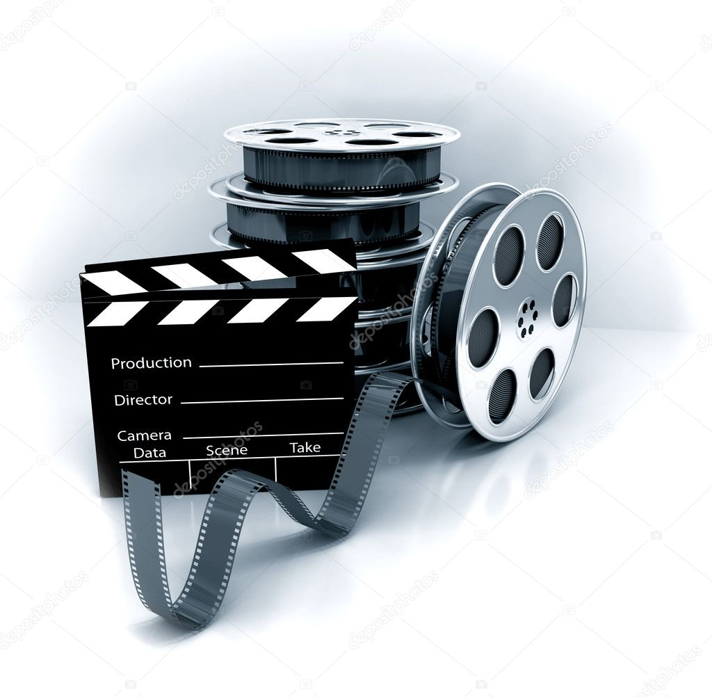 Film slate with movie film reel stock image