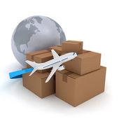 Картонные пакеты с самолет над белой — Стоковое фото