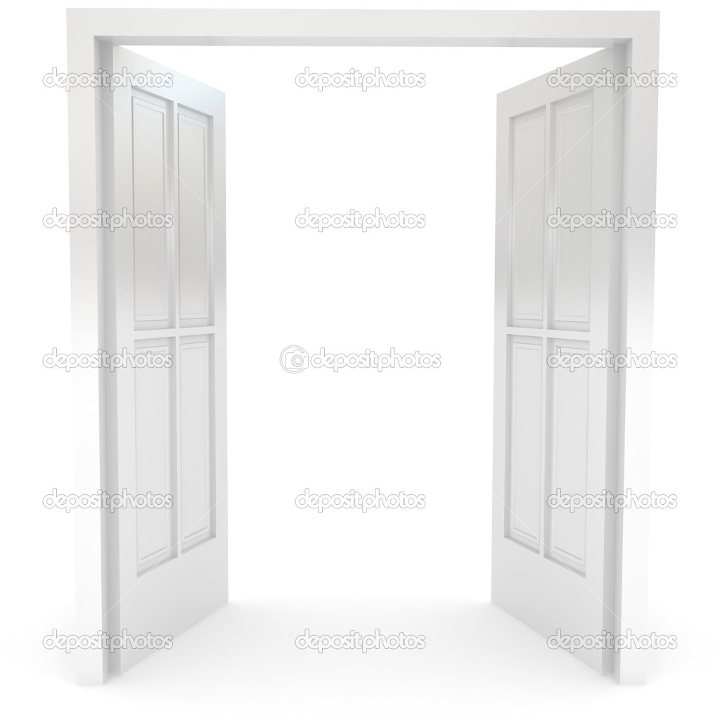 Open door over white. 3d rendered image   #3861751