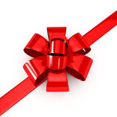 Red ribbons over white background — Stock Photo