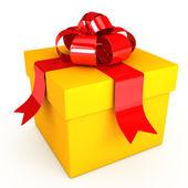 Kırmızı kurdele ile beyaz arka plan üzerinde hediye — Stok fotoğraf