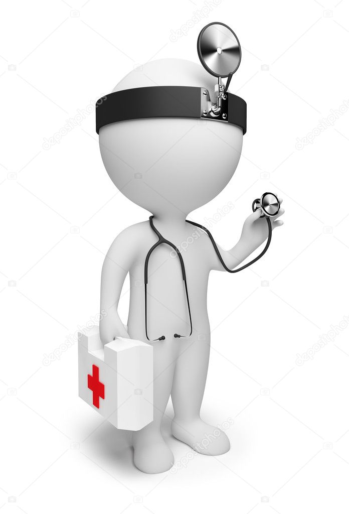 3d small the doctor with a stethoscope and the first-aid set in hands. 3d image. Isolated white background.  Stock Photo #2775128