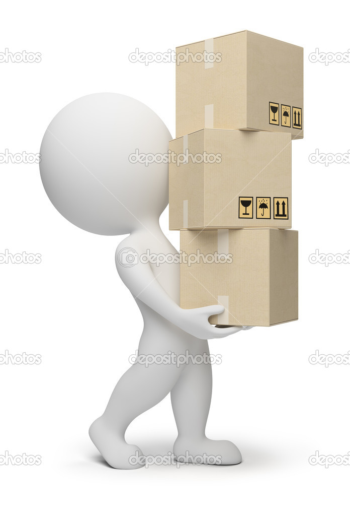 3d small carrying cardboard boxes. 3d image. Isolated white background. — Stock Photo #2868774