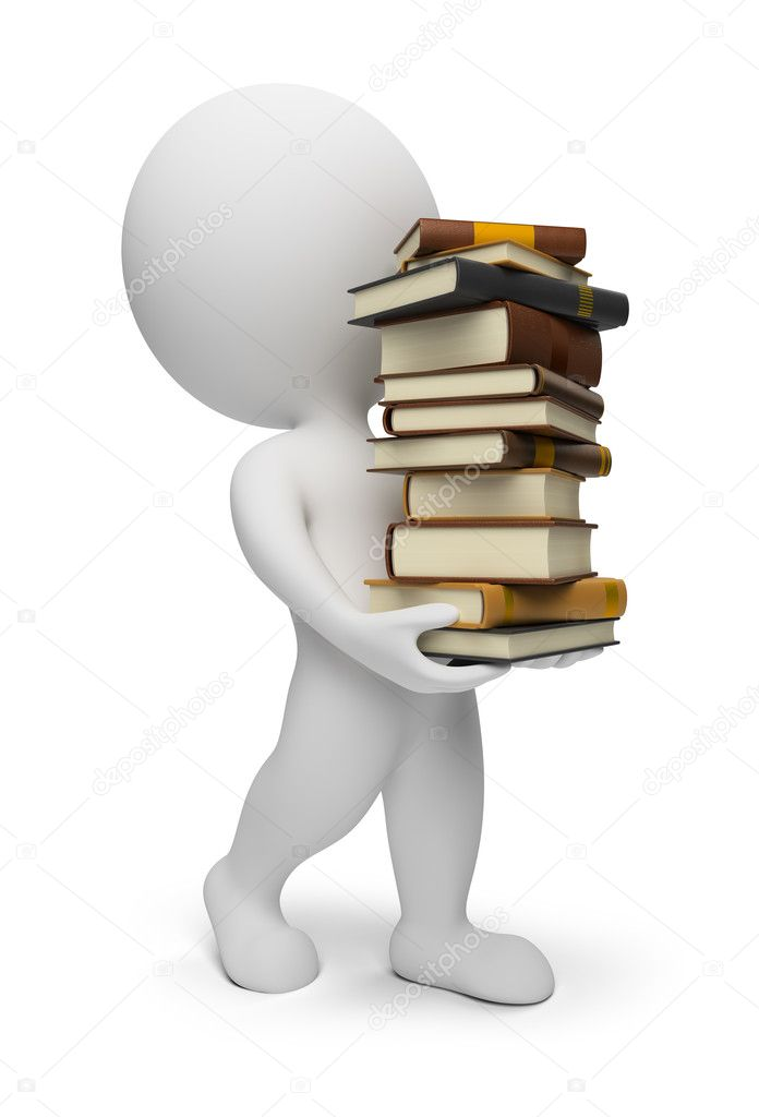 3d small carrying books. 3d image. Isolated white background. — Stock Photo #2868780