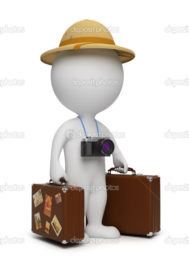 3d small - tourist with suitcases and the camera. 3d image. Isolated white background. — Stock Photo #3167438