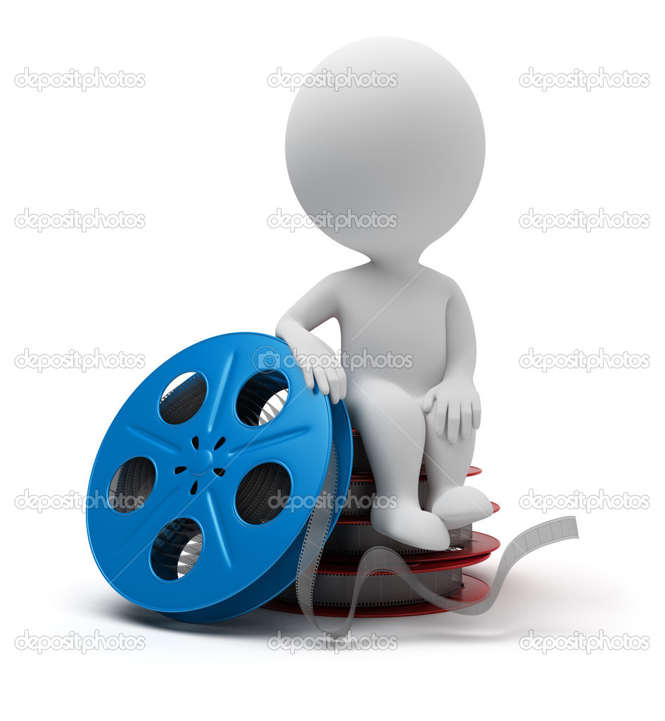 3d small sitting on film reel. 3d image. Isolated white background. — Stock Photo #3789532