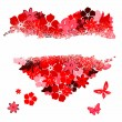 The torn heart from florals - Stock Vector