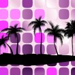 Stock Vector: Palm trees against squares