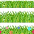 Stock Vector: Collection seamless a green grass