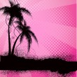 Stock Vector: Pink background with palm trees