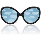 Solglasögon med reflexion av himlen — Stockvektor