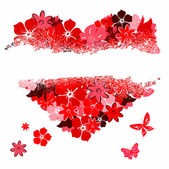 Het gescheurde hart van florals — Stockvector