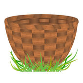 Empty basket standing on a green grass — Stock Vector