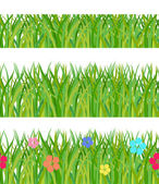Collection seamless a green grass — Stock Vector