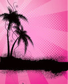 Pink background with palm trees — Stock Vector