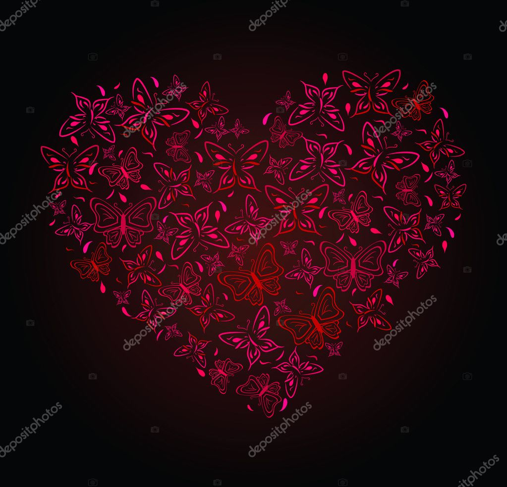 Abstract drawing of heart from butterflies. Vector illustration — Stock Vector #2785950
