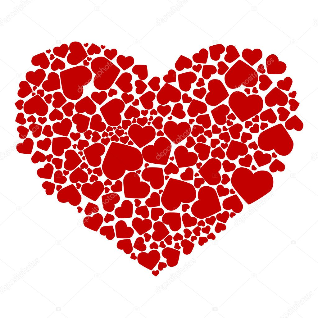 Abstract drawing of red hearts. Vector illustration — Stock Vector #2785993
