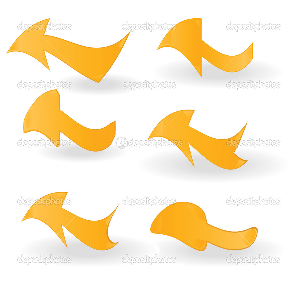 Set of orange arrows on a white background