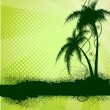 Green background with palm trees — Imagen vectorial