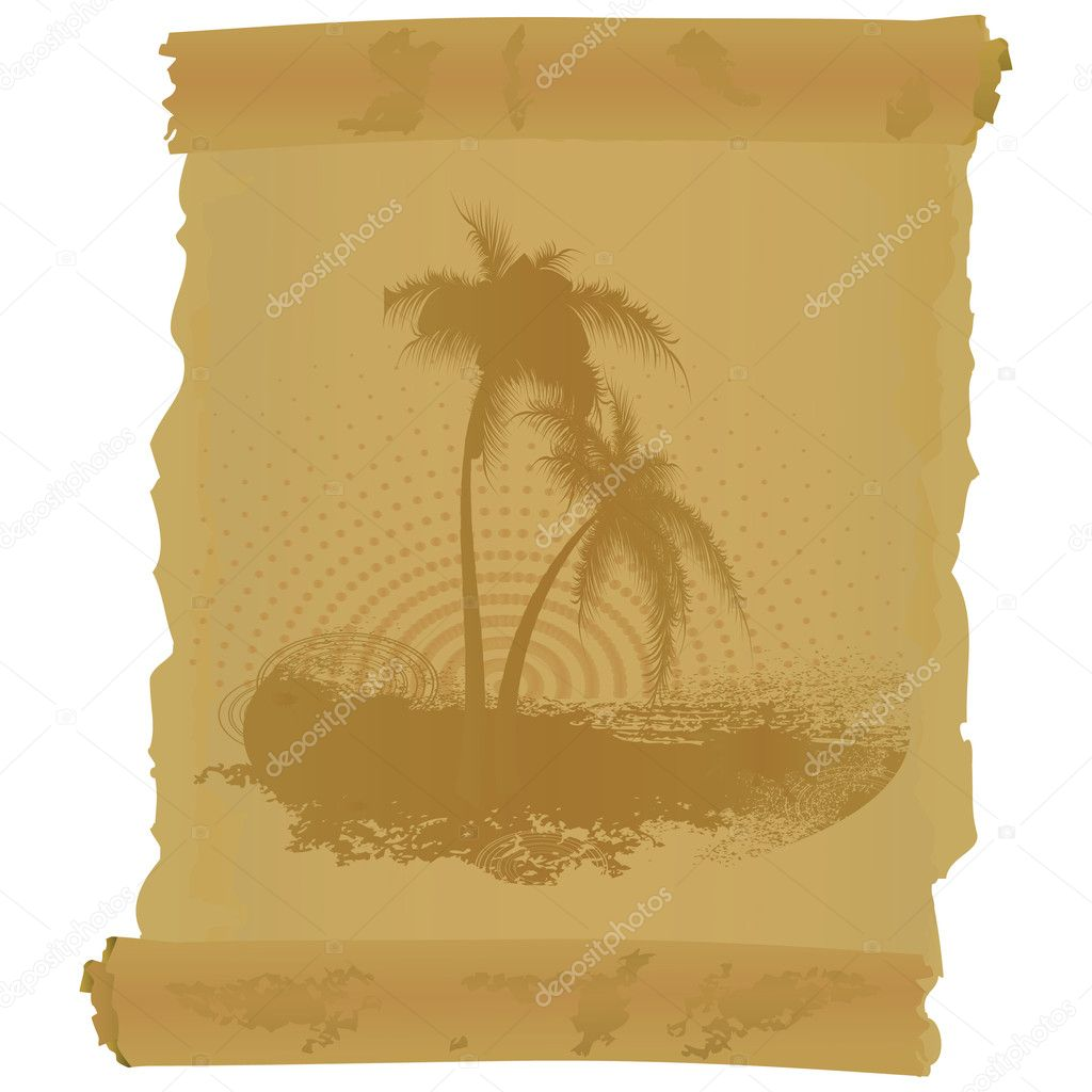 Scroll with two palm trees on a white background  Imagen vectorial #2801548