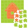 The house collected from puzzles - Stock Vector