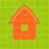 The house collected from puzzles — Stock Vector
