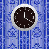 Clocks hanging on a wall with wall-paper — Stock Vector
