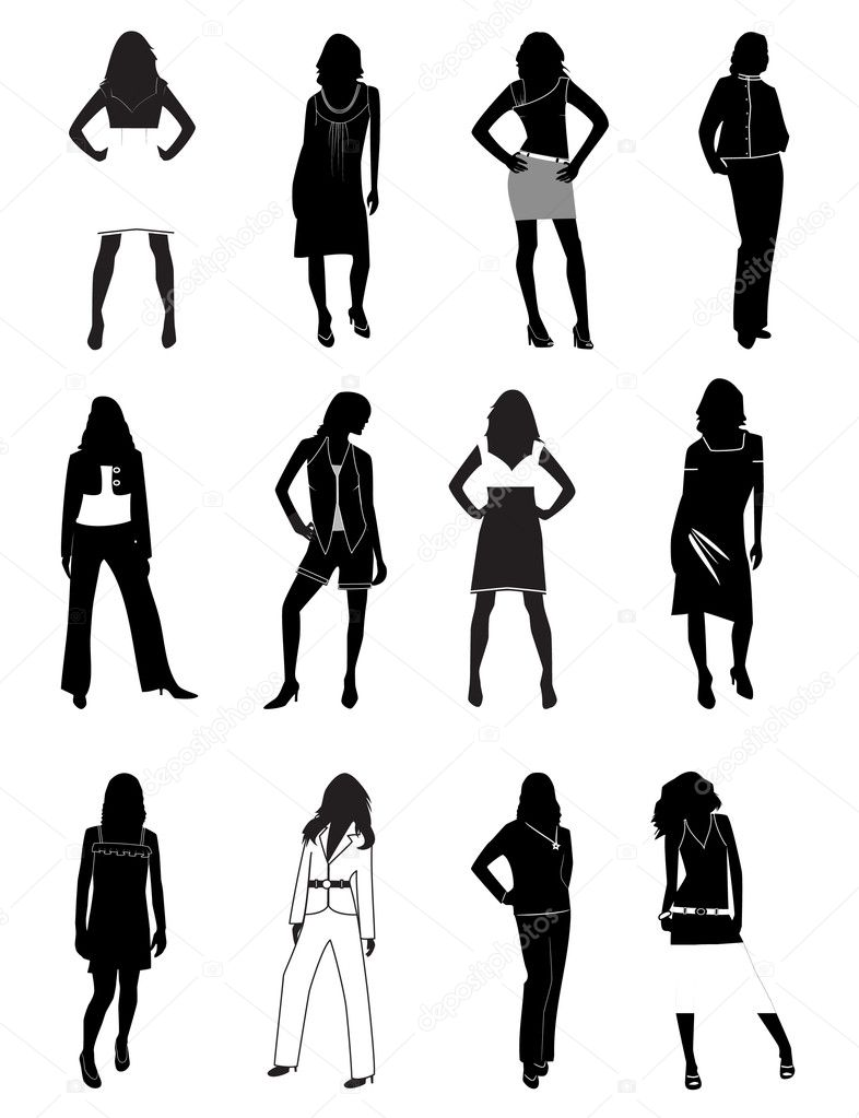 Silhouettes of women in a fashion. Vector illustration — Imagen vectorial #3542393