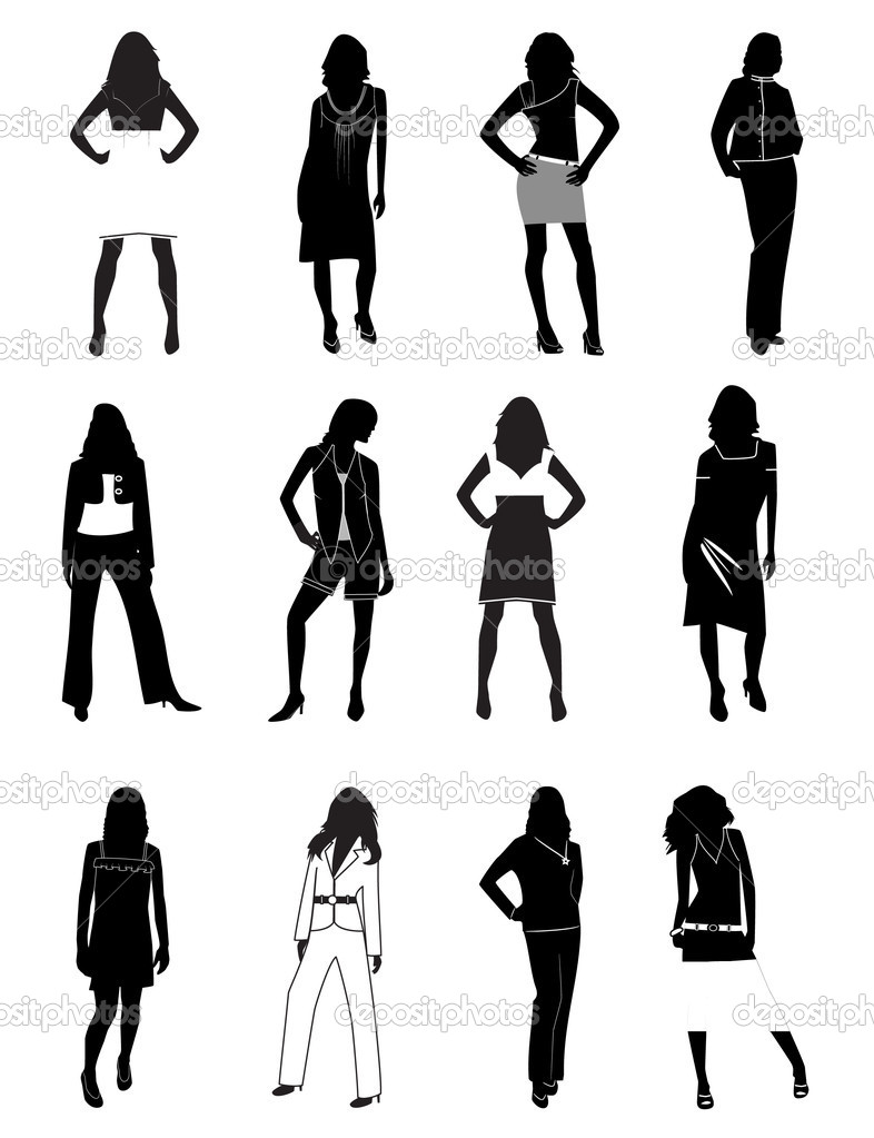 Silhouettes of women in a fashion. Vector illustration — Imagens vectoriais em stock #3542393