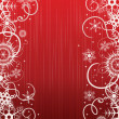 Stock Vector: Winter red background with snowflakes