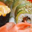 Close-up japanese colourful sushi set — 图库照片