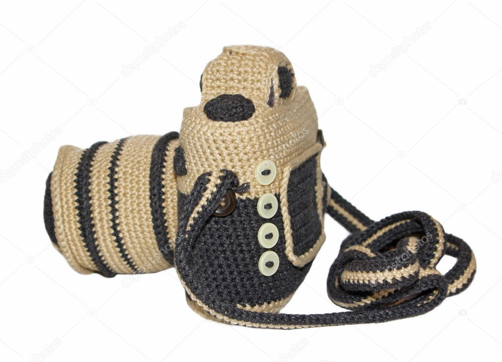 Knitted handmade photo camera over the white background — Stock Photo #3207097
