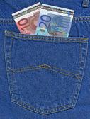 Euro w kieszeni jeansów — Zdjęcie stockowe