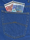Euro in een jeans zak — Stockfoto